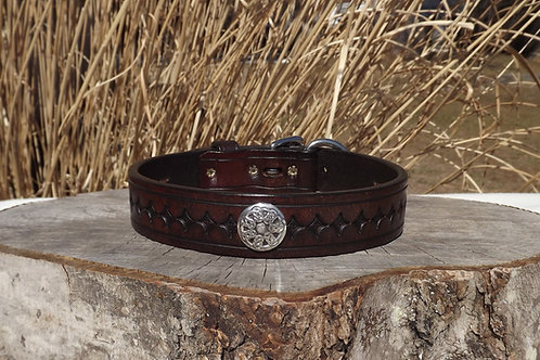 """Tooled Weathered Mahogany Buckle Collar (Fits 17 3/4""""-19 1/4"""" neck)"""