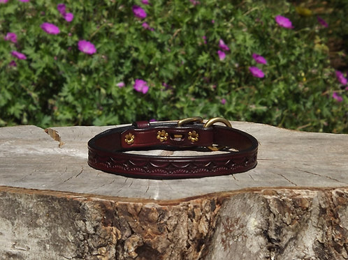 """Tooled Cherry Buckle Collar w/ Solid Brass (Fits 11 1/4""""-12 1/4"""")"""