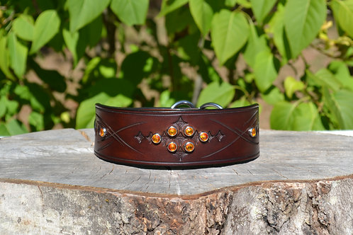 "Autumn Wheat Flat Martingale with Fire Opal Swarovski Crystals (15 3/8"")"