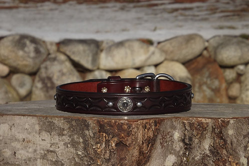 """Tooled Dark Cherry Buckle Collar with Concho and SS Spots (Fits 18 3/8""""-19 1/8"""")"""