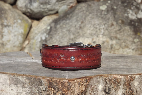 """Tooled Streaked Wheat Collar with Liner and SS Spots (Fits 12""""-12 5/8"""" neck)"""