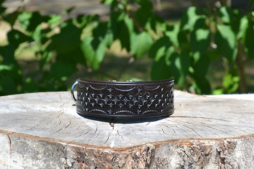 "12 1/4"" Tooled Dark Brown Side Release Buckle Collar"