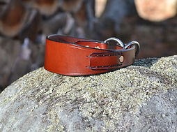 "Handcrafted chestnut ""English"" bridle leather flat martingale collar with hand stitched tab and stainless steel O-rings"
