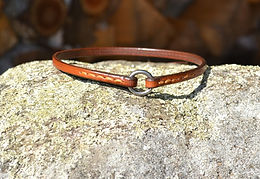 Handmade, hand stitched leather tag collar with stainless steel O-ring