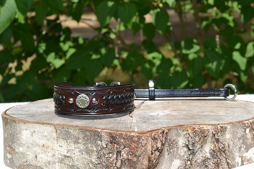 Tooled Tab Martingale Collar with Black Lacing