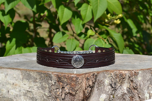"Tooled Red Mahogany Chain Martingale with SS Concho (17 7/8"")"