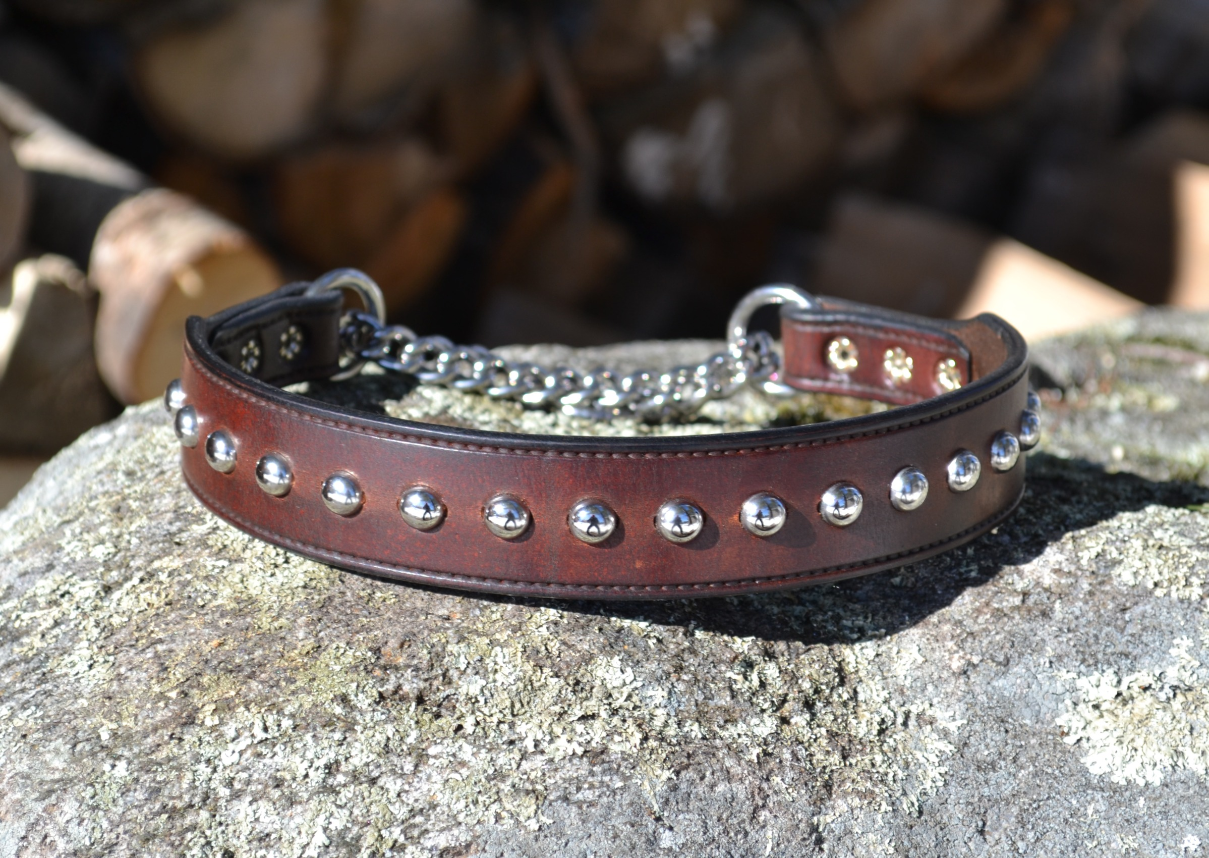 Medium Brown Harness Leather Chain Martingale Collar