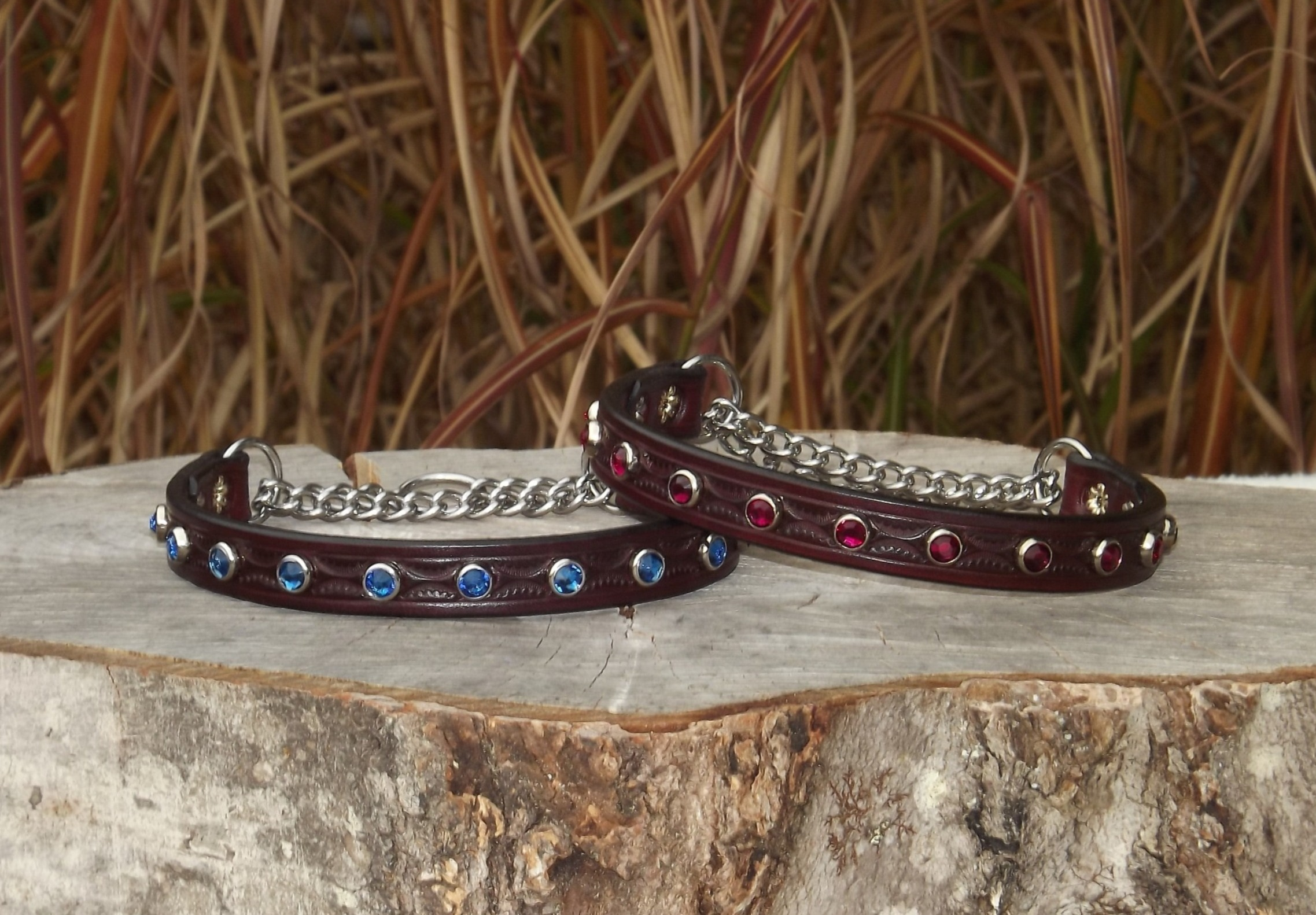 Tooled Red Mahogany Chain Martingales ($48)