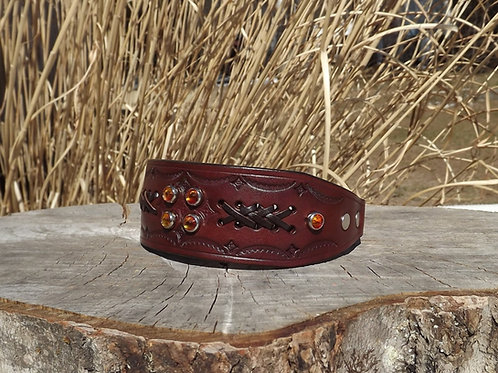 "Tooled Autumn Wheat Chain Martingale w/ Lacing and Crystals (11 5/8"")"