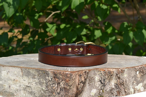 "Rich Brown Harness Leather Buckle Collar (Fits 18 1/2""-20"" neck)"