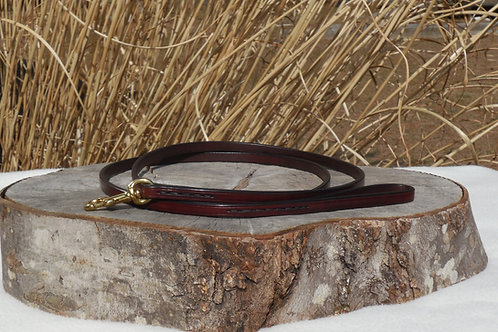 """3/8"""" x 5' Red Mahogany Leather Leash w/ Solid Brass"""