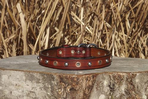 """Light Brown Buckle Collar w/ SS Spots &  Rivet/Burr Studs (Fits 16 3/8""""-17 3/4"""")"""