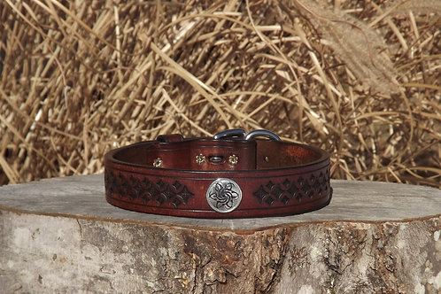 "Tooled Weathered Brown Buckle Collar w/ SS Concho (Fits 17""-18 1/2"" neck)"