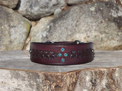 """Tooled Red Mahogany Flat Martingale with Teal Swarovski Crystals (15 1/2"""")"""