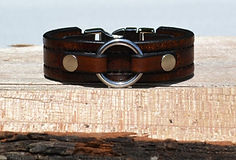 Leather bracelet with stainless steel O-ring