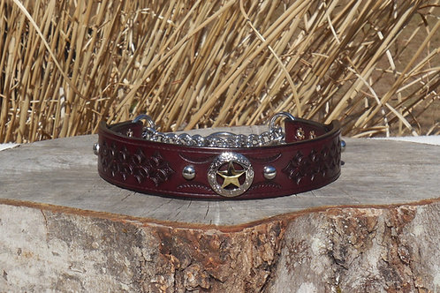 "Tooled Cherry Chain Martingale w/ Texas Star Concho (18 1/4"")"