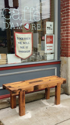 Outdoor Red Oak Bench - Caffe D'Amore, Pittsburgh, PA