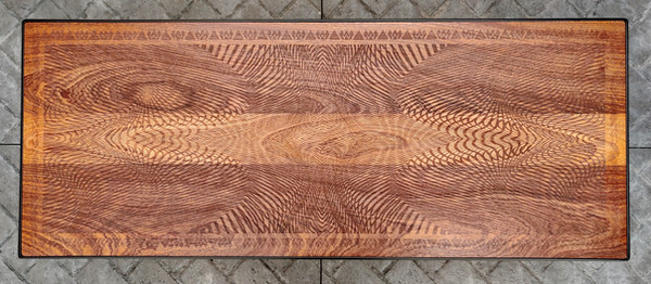 Custom Sapelle Coffee Table - Etched Detail