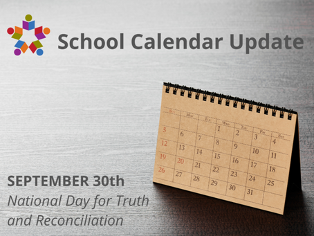School Calendar Updated to Reflect September 30th as a Holiday