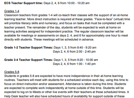 Updated At Home Learning Schedule