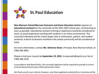 New Job Posting for New Myrnam School