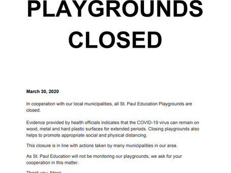 Playgrounds are CLOSED