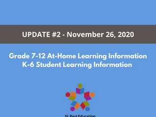 Update #2 - Grade 7-12 At-Home Learning and K-6 Student Learning