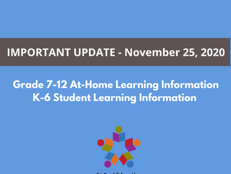Update on Grade 7-12 At-Home Learning
