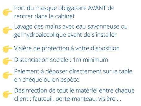 Règles d'hygiène à respecter pour la réouverture du cabinet