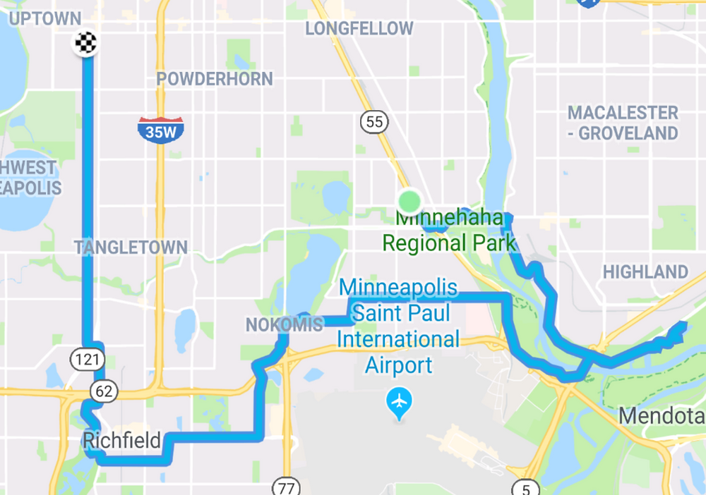Bike route from 46th and Hiawatha to Crosby Farm Park to Wood Lake to home