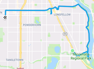 Route from 46th Street station to the Ford Dam and Veterans Home and then home