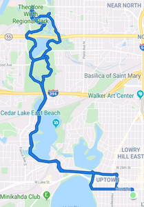 Map of my route from home up to and around Wirth Park and back.