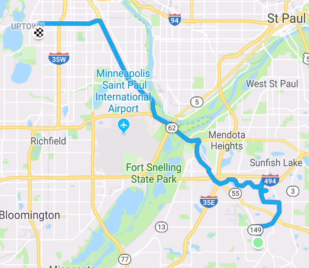 My route home from work, including going by Ames Crossing Road