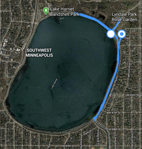 Satellite image of Lake Harriet with my route during my birding looking for the Red-throated Loon.