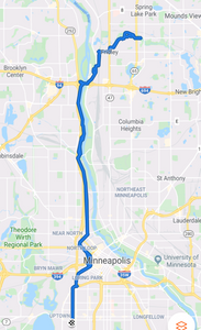 Map of route from home up to Rice Creek West Regional Trail and then back again