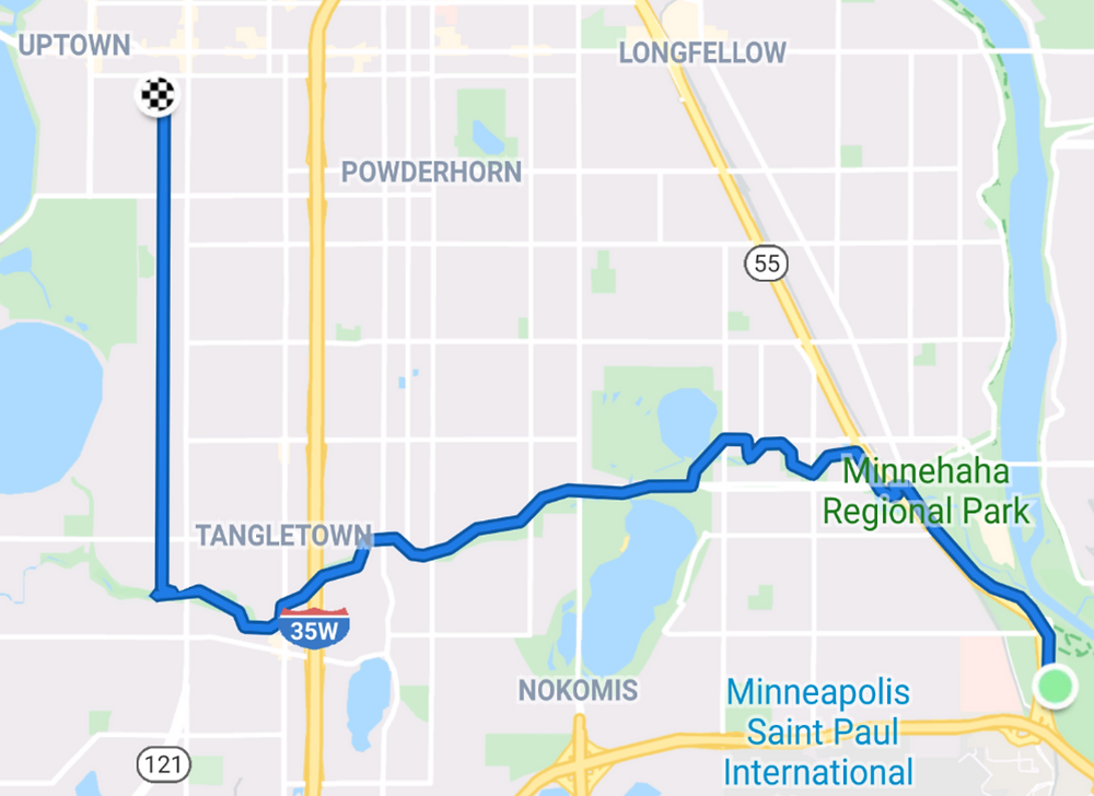 A map of my route home from Coldwater Spring via the Minnehaha Creek Trail