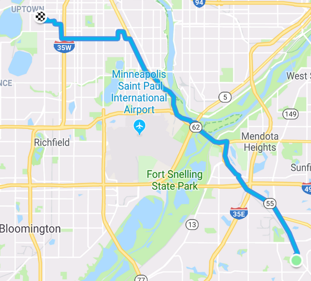 Route from work to home via the White-winged Dove location