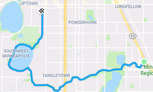 My route to the transit station via Lake Harriet