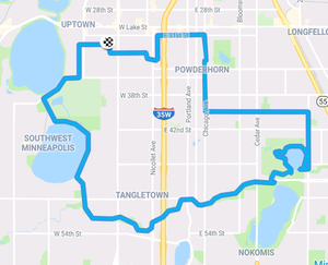 map of bike route for this post