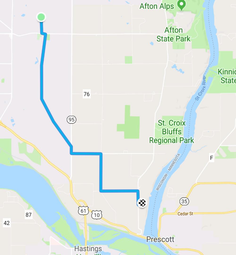 Route through rural Washington County to Carpenter Nature Center