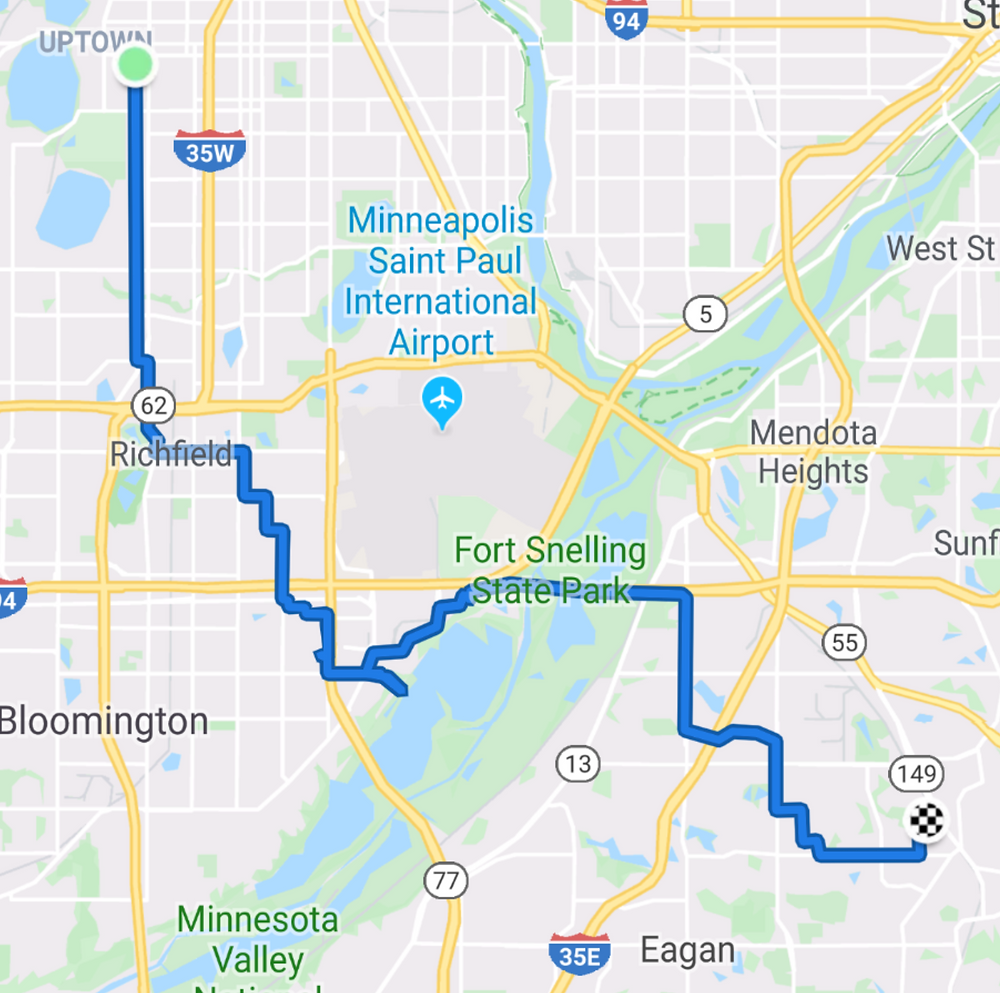 A map of my route to work via the Bass Ponds area of the Minnesota Valley National Wildlife Refuge