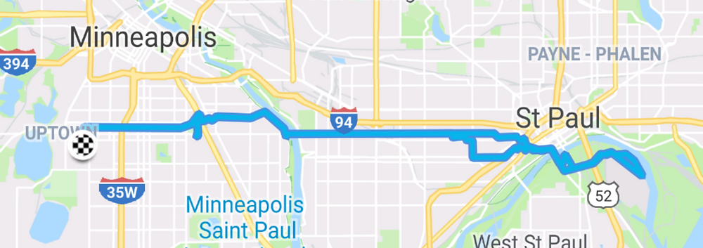 Route from my house over to Holman Field, then to Sweeney's Saloon for Birds and Beers, and then back home