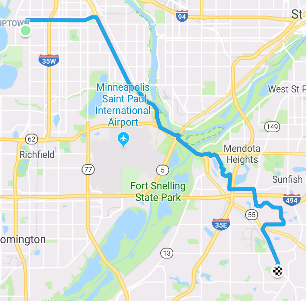 My route to work via Fort Snelling, Resurrection Cemetery, and the Ames Crossing area.