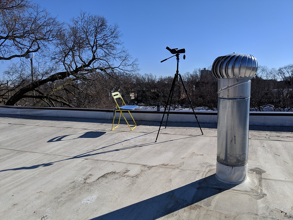 My skywatching set up on the roof of my building