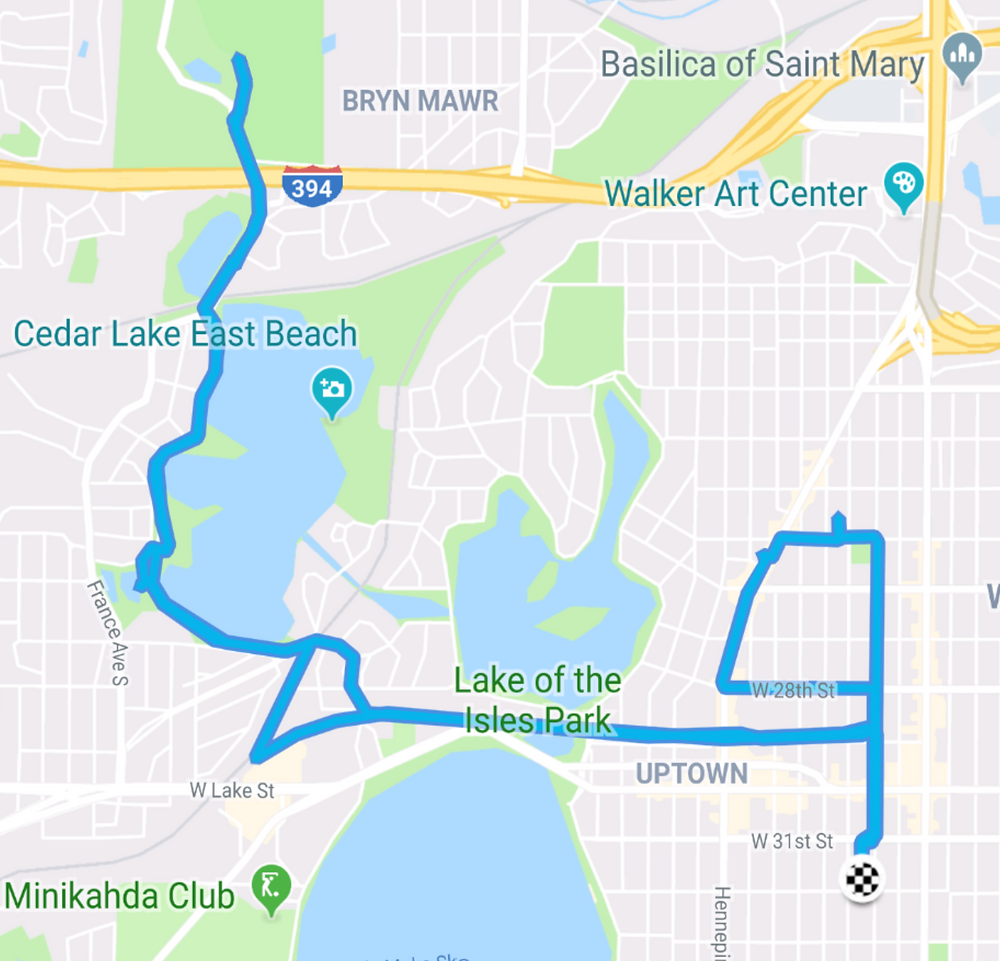 My route to Wirth Park and back