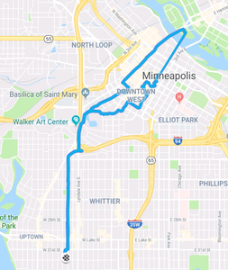 route from home down to Nicollet Island and back