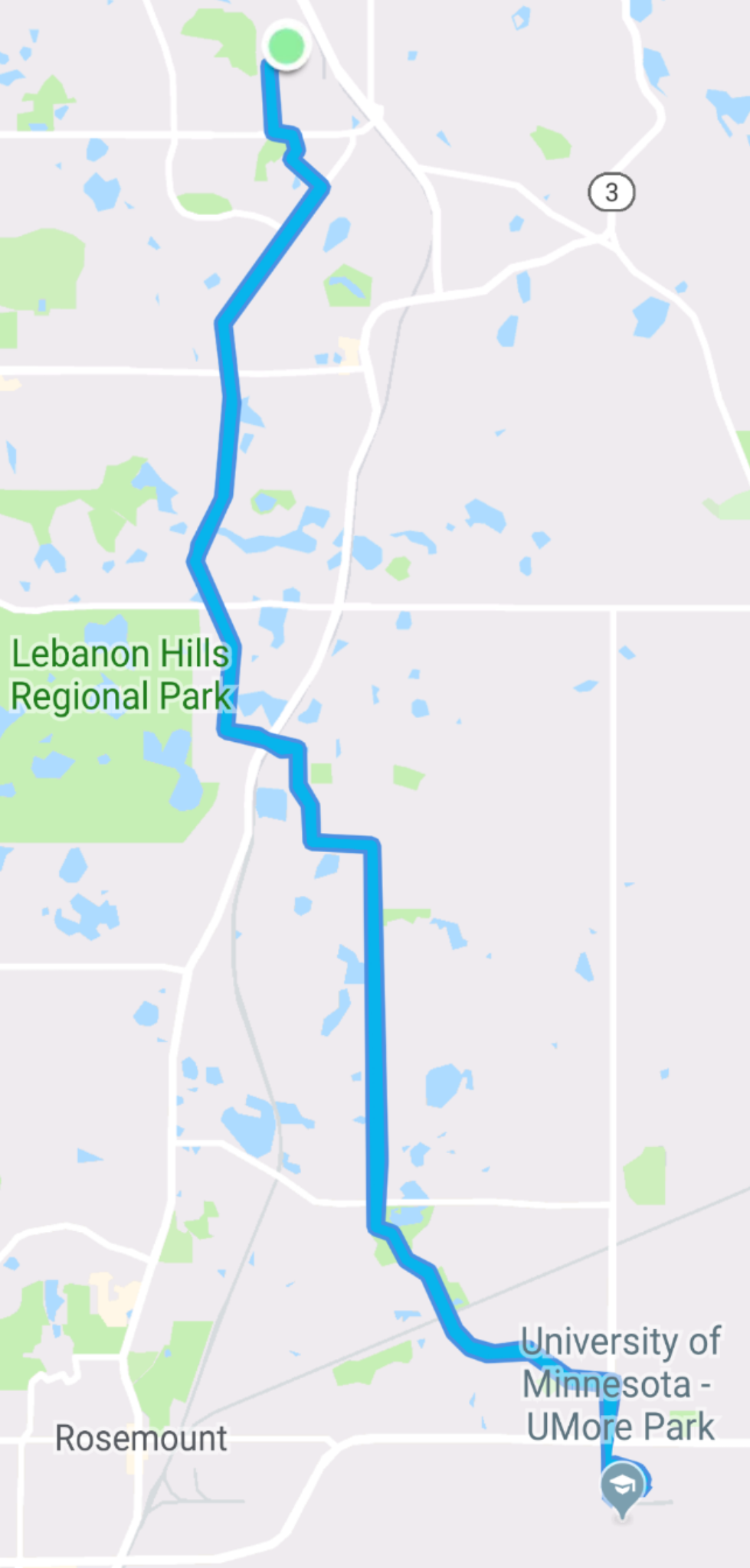 Route from work down to the DCTC ball fields and back
