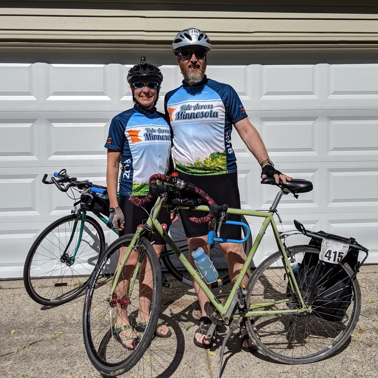Kellie and I standing with our bikes before our big bike ride