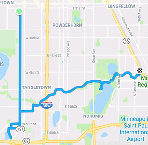 Route from home to Grass Lake then to Lake Hiawatha and then to the transit station