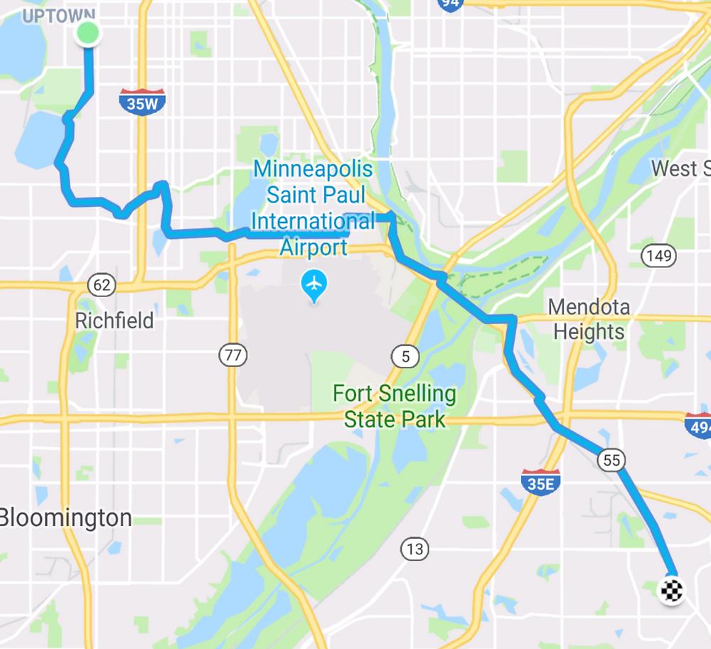My route to work via Lake Harriet and Diamond Lake